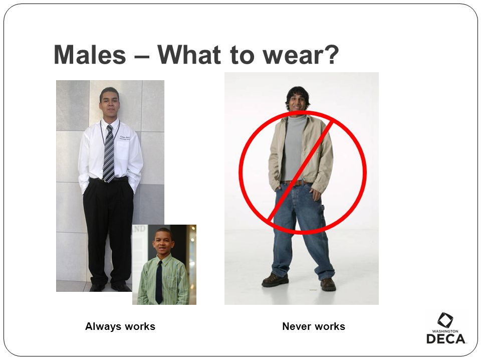 Males – What to wear Always works Never works