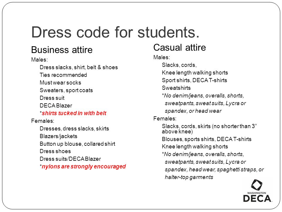 Dress code for students.