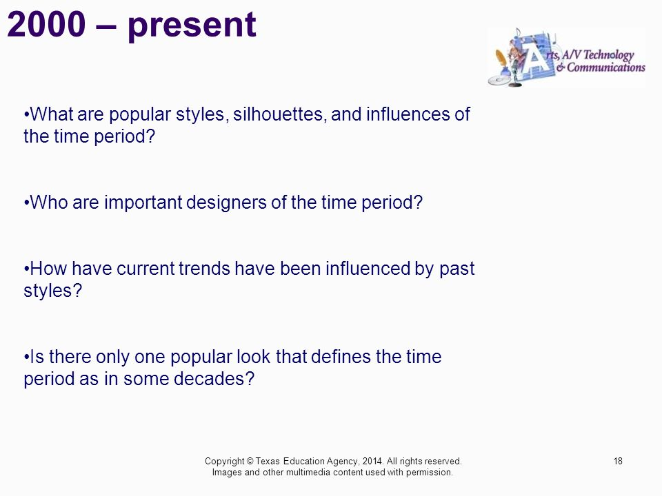 2000 – present What are popular styles, silhouettes, and influences of the time period Who are important designers of the time period