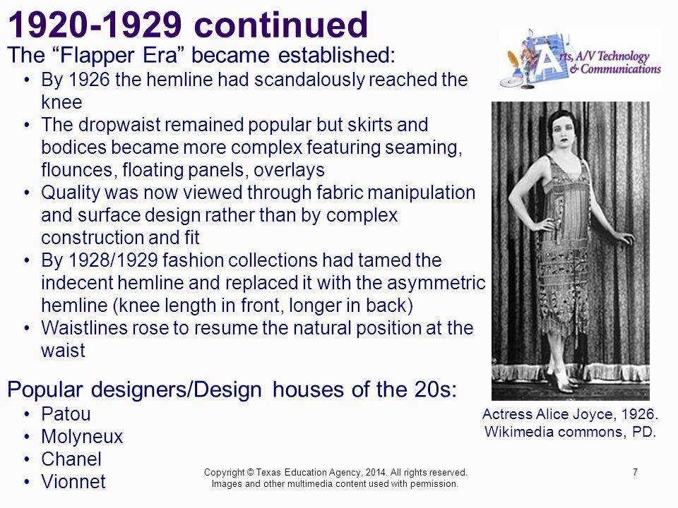 1920-1929 continued The Flapper Era became established: