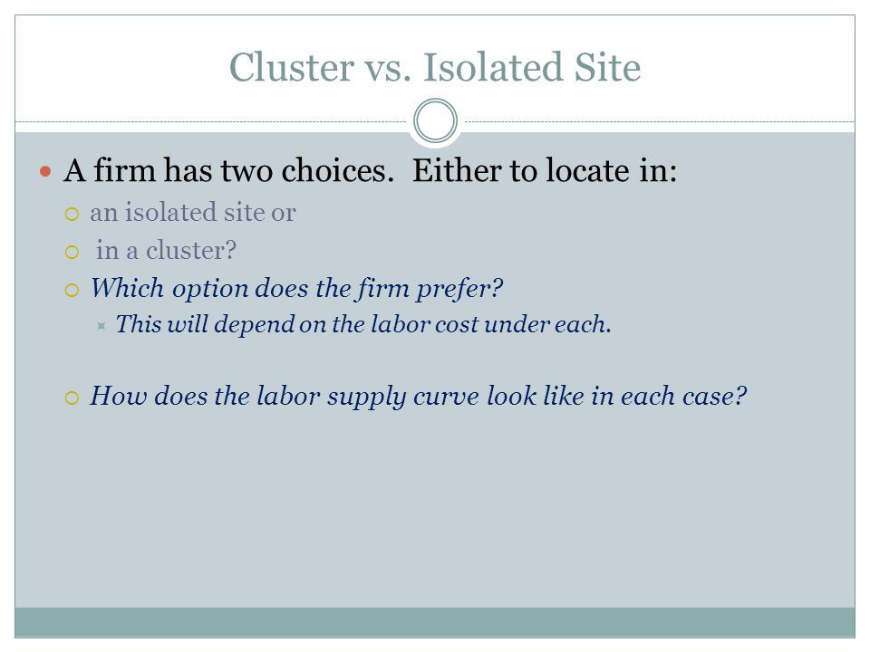 Cluster vs. Isolated Site