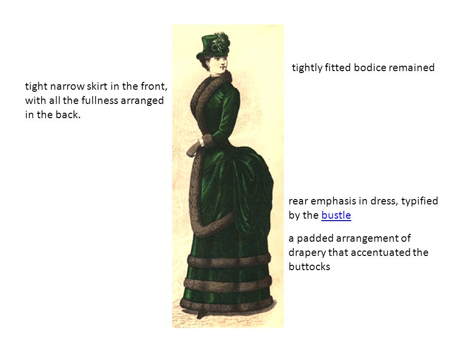 tightly fitted bodice remained
