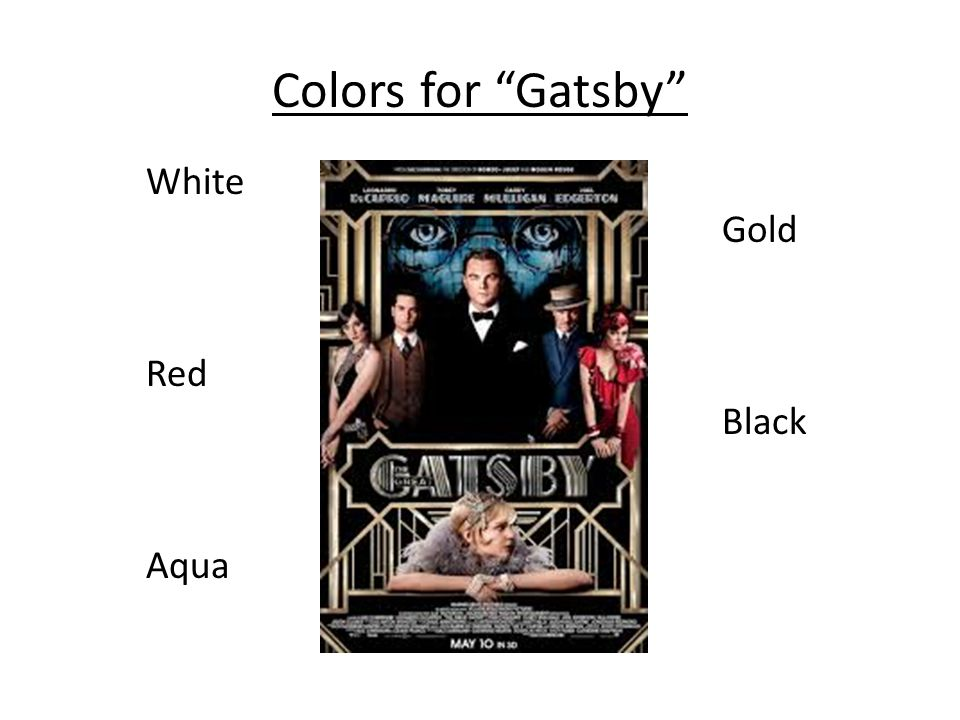Colors for Gatsby White Gold Red Black Aqua