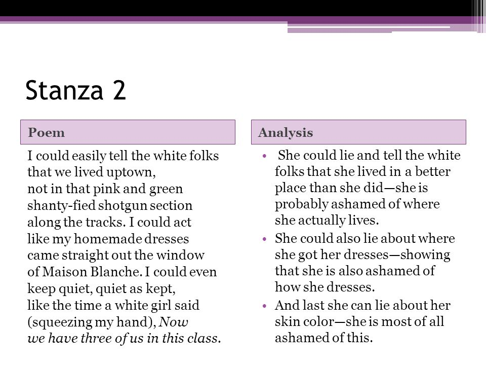 Stanza 2 Poem. Analysis.