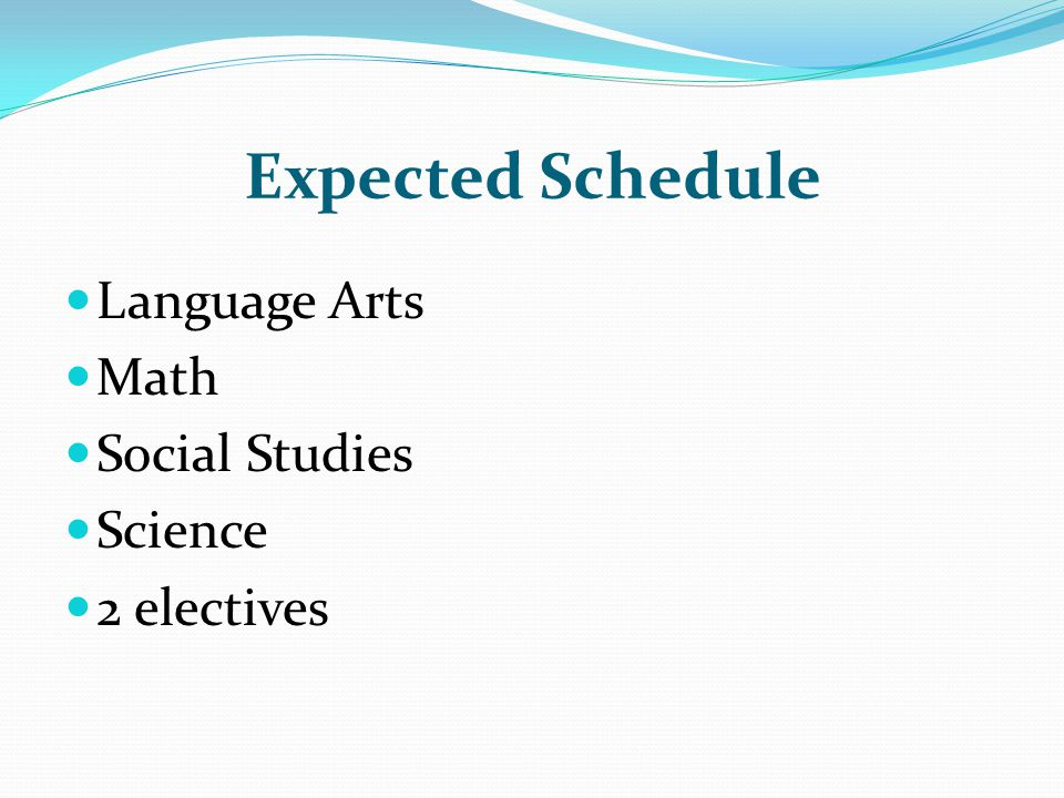 Expected Schedule Language Arts Math Social Studies Science
