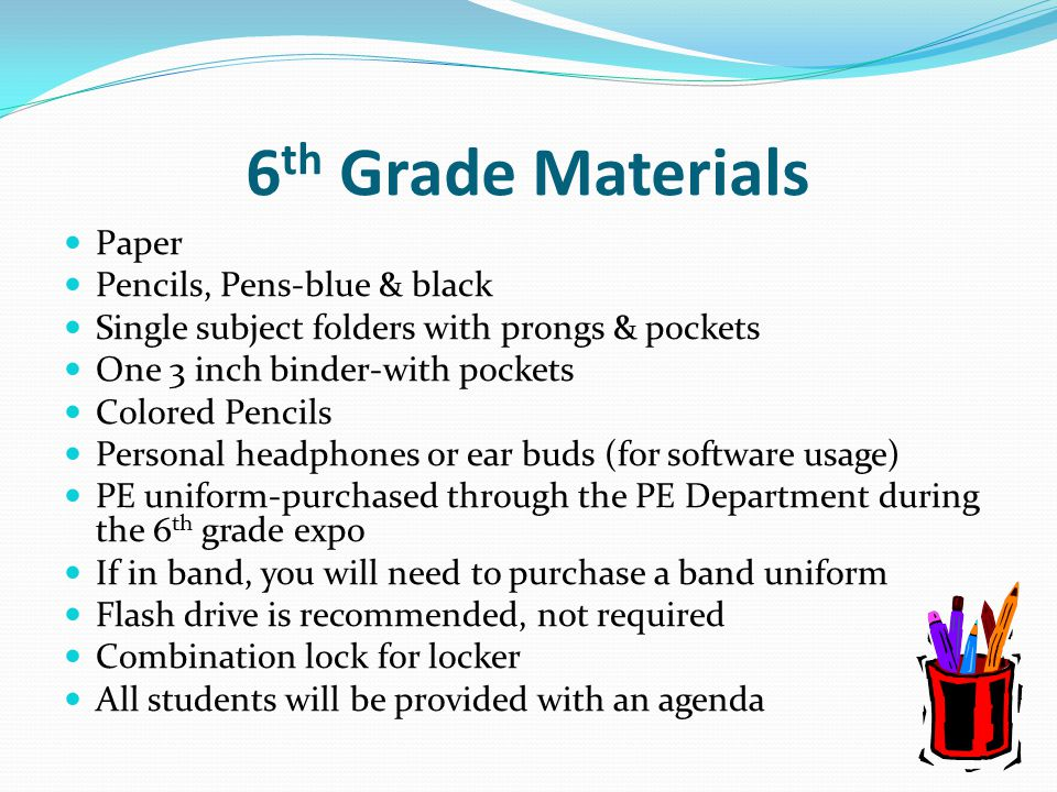 6th Grade Materials Paper Pencils, Pens-blue & black
