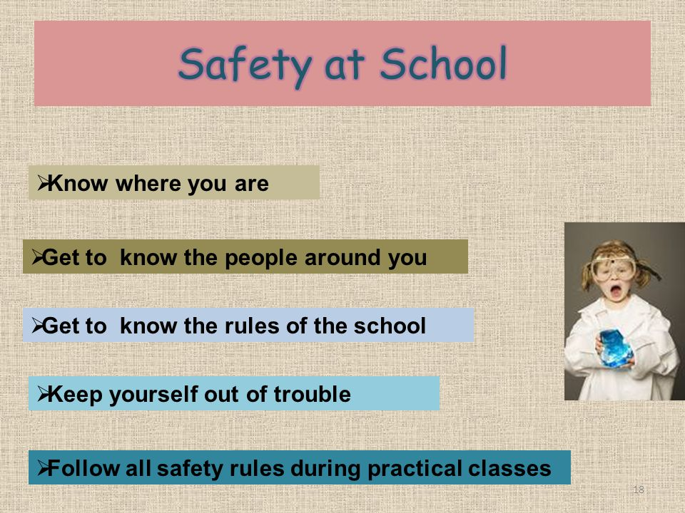 Safety at School Know where you are Get to know the people around you