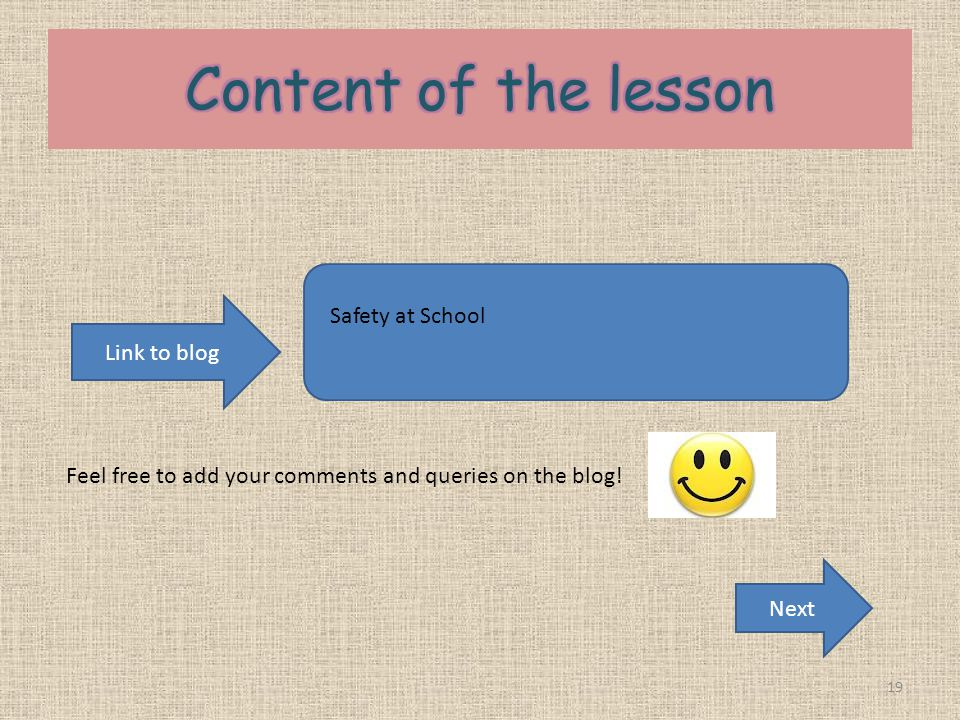 Content of the lesson Safety at School Link to blog