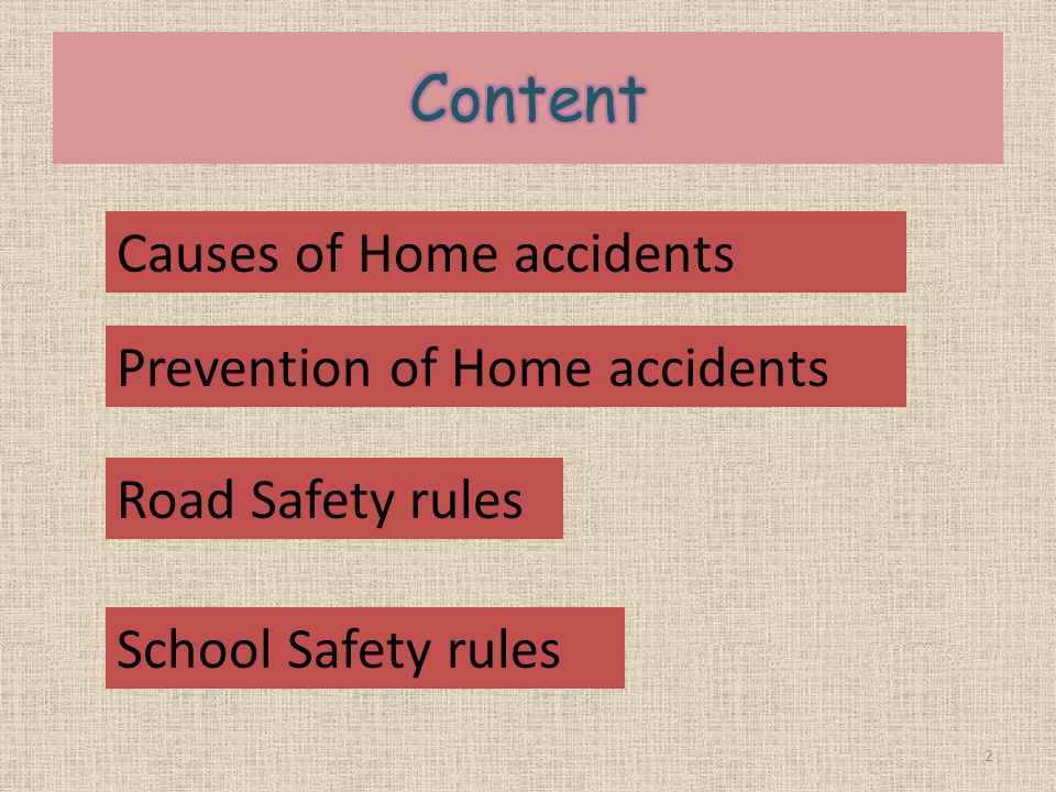 Content Causes of Home accidents Prevention of Home accidents