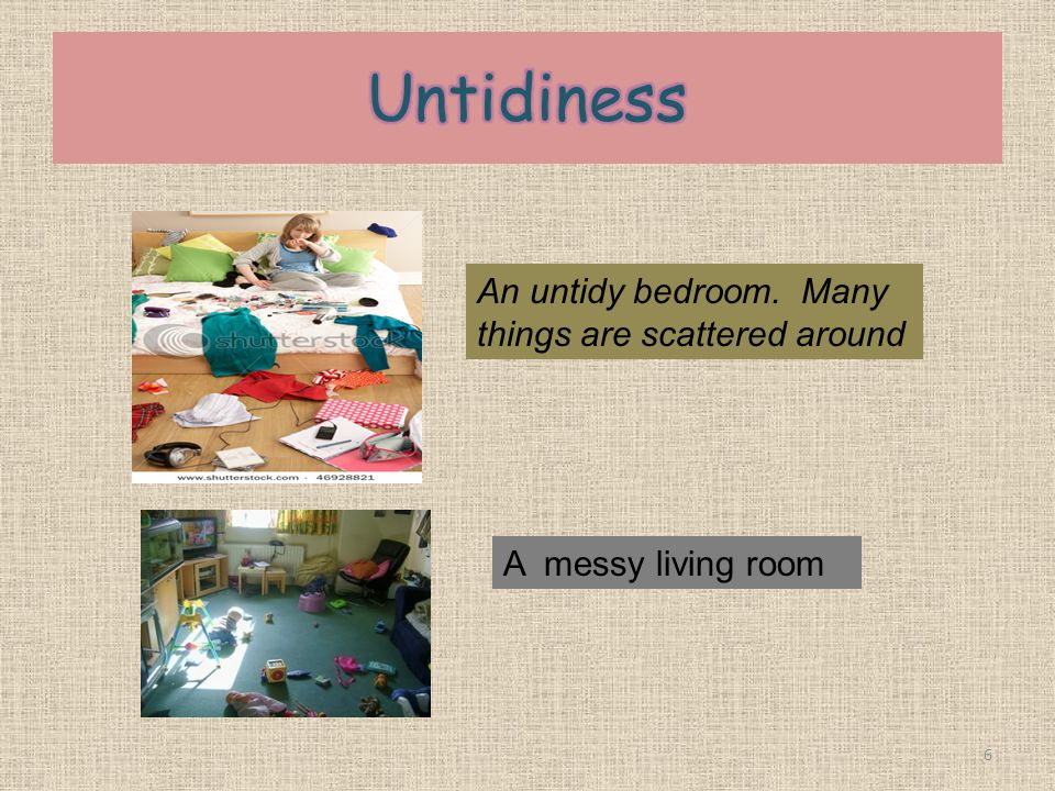 Untidiness An untidy bedroom. Many things are scattered around