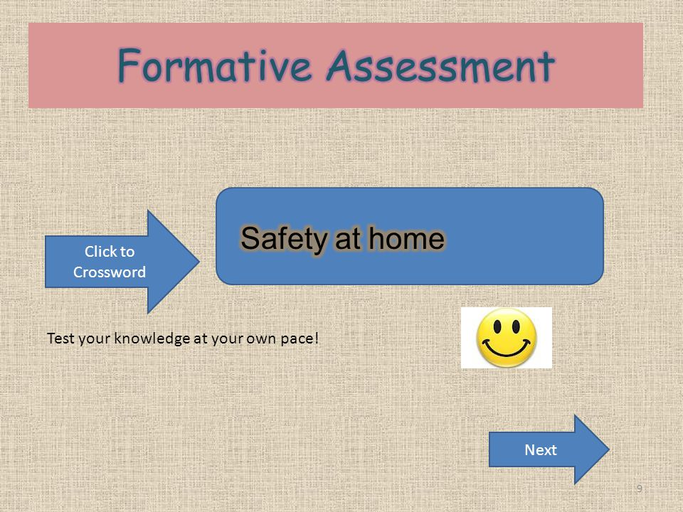 Formative Assessment Safety at home Click to Crossword