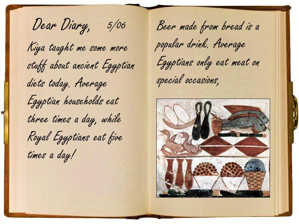 Dear Diary, 5/06. Beer made from bread is a popular drink. Average Egyptians only eat meat on special occasions,
