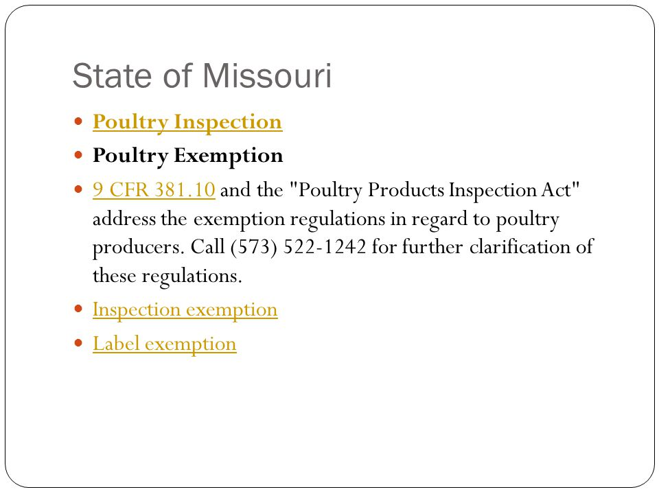 State of Missouri Poultry Inspection Poultry Exemption