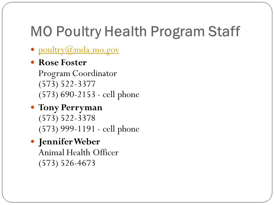 MO Poultry Health Program Staff