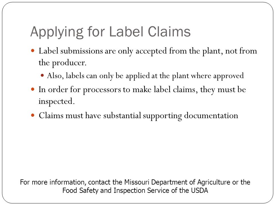 Applying for Label Claims