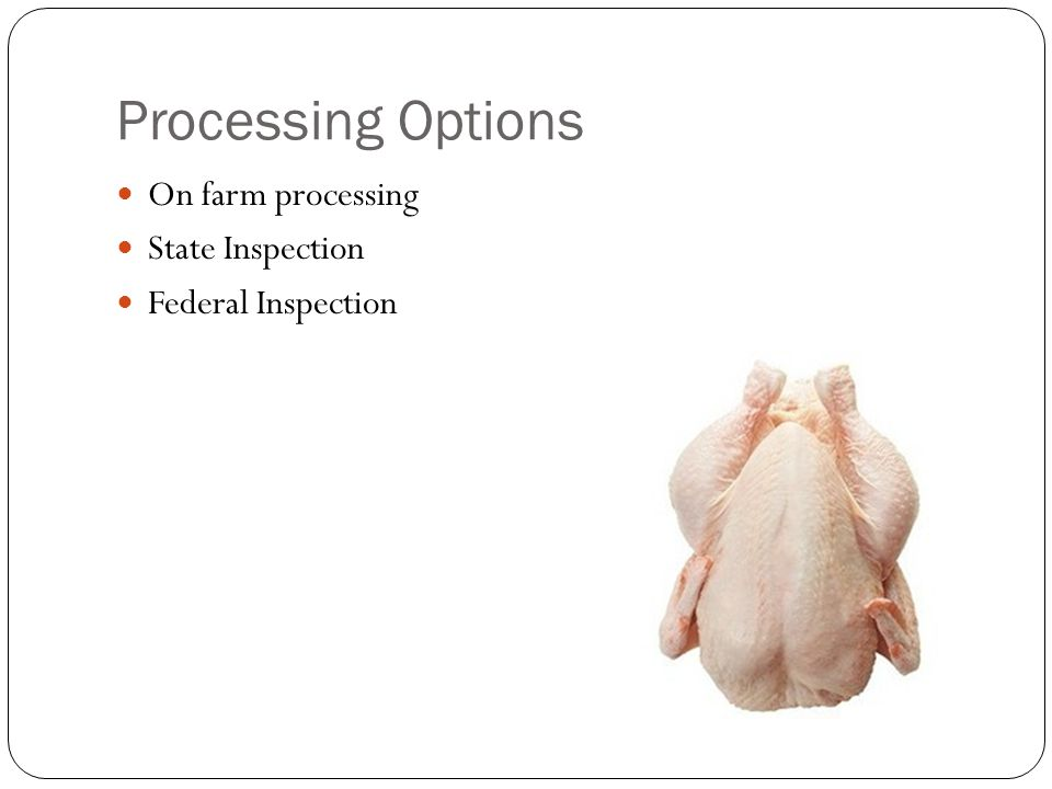 Processing Options On farm processing State Inspection