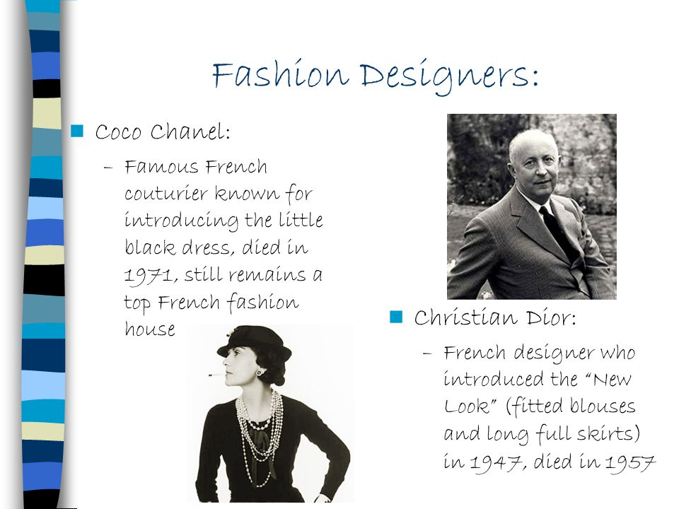 Fashion Designers: Coco Chanel: Christian Dior: