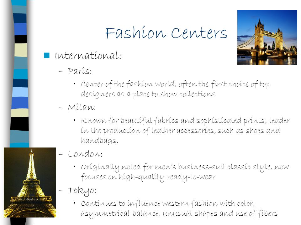 Fashion Centers International: Paris: Milan: London: Tokyo: