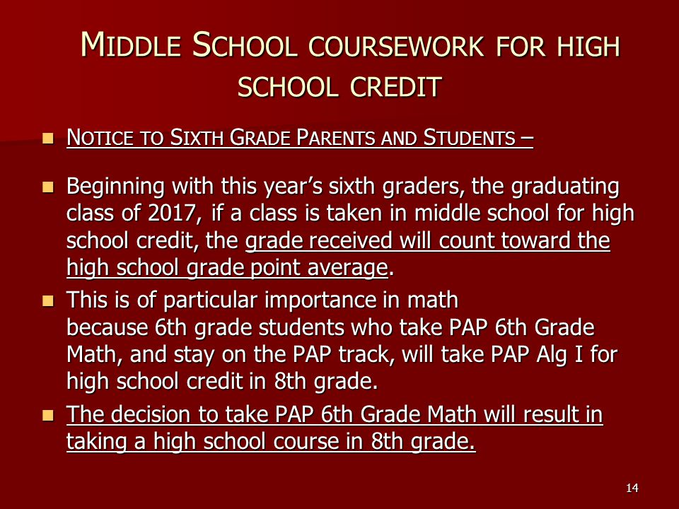 Middle School coursework for high school credit