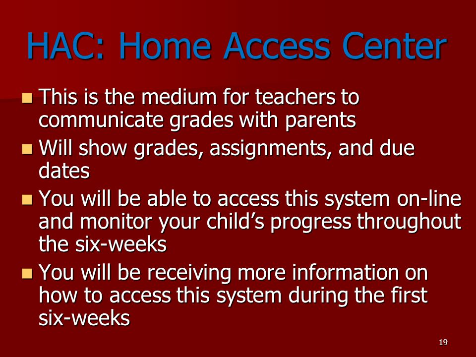 HAC: Home Access Center