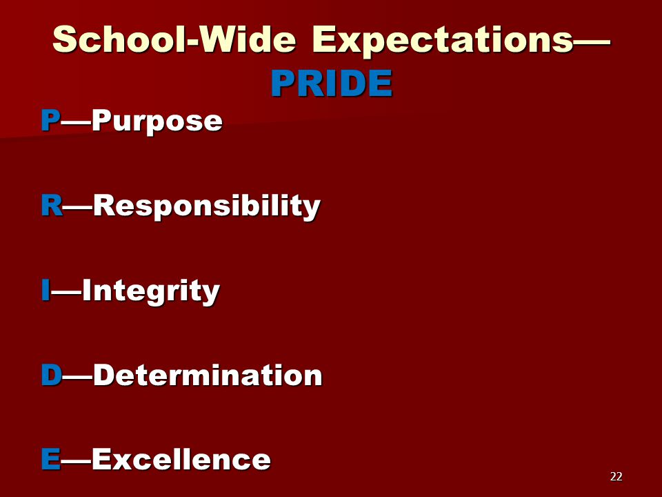 School-Wide Expectations— PRIDE