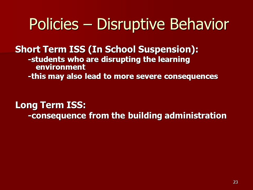 Policies – Disruptive Behavior