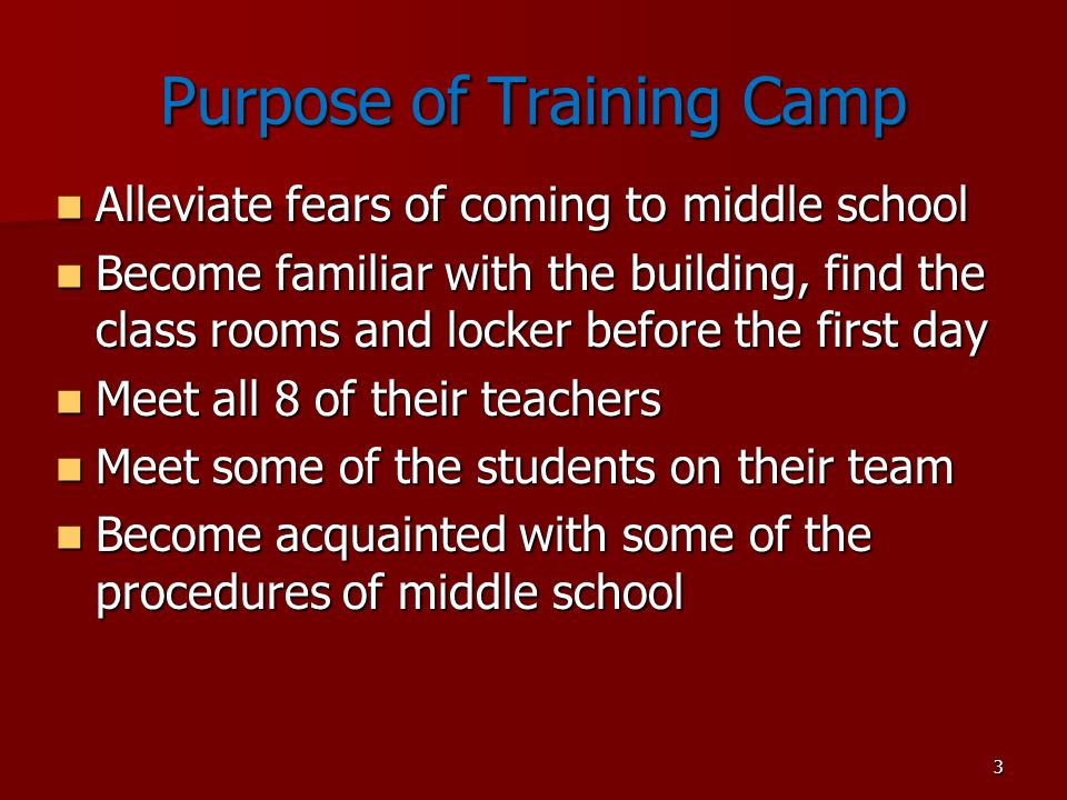 Purpose of Training Camp