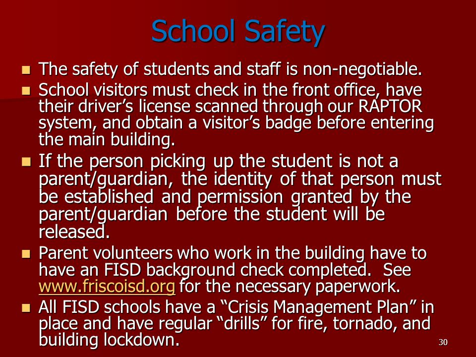 School Safety The safety of students and staff is non-negotiable.