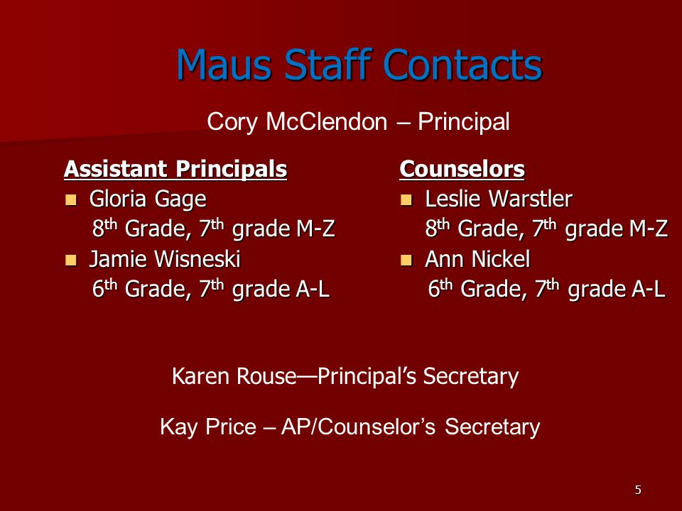 Maus Staff Contacts Cory McClendon – Principal Assistant Principals
