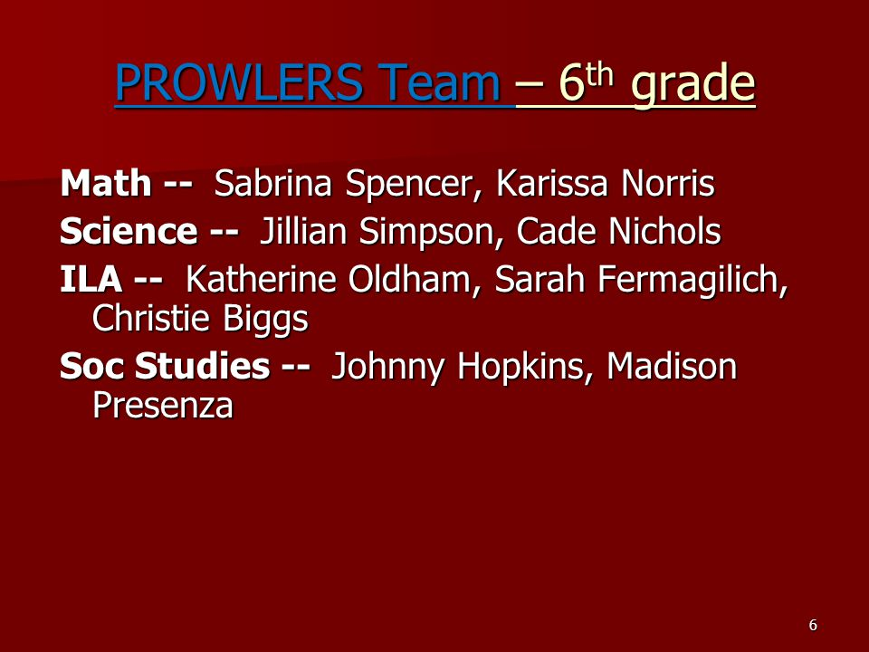 PROWLERS Team – 6th grade