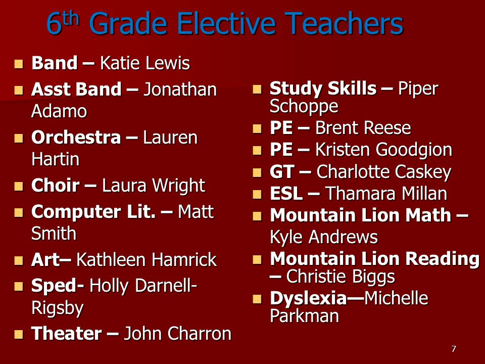 6th Grade Elective Teachers
