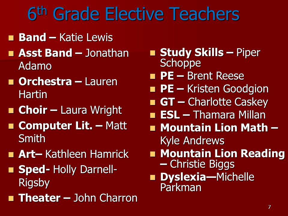 6th Grade Elective Teachers