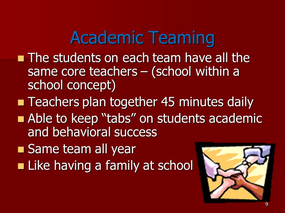 Academic Teaming The students on each team have all the same core teachers – (school within a school concept)