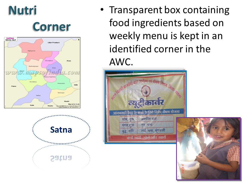 Transparent box containing food ingredients based on weekly menu is kept in an identified corner in the AWC.
