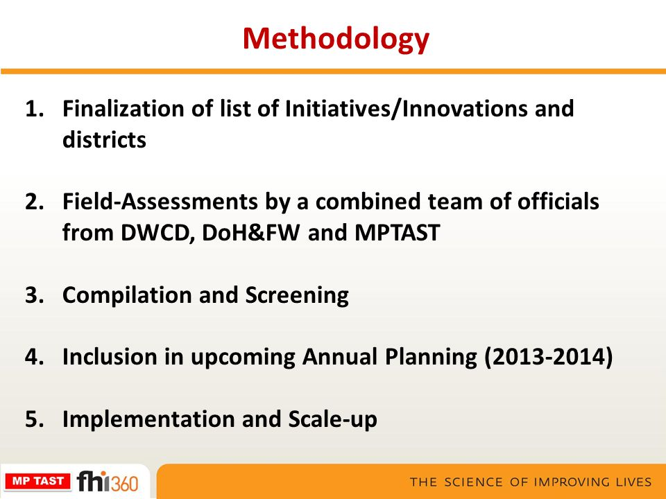 Methodology Finalization of list of Initiatives/Innovations and districts.