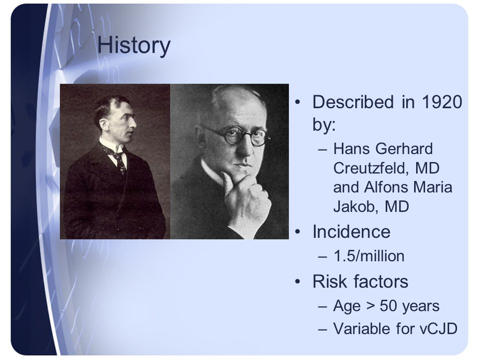 History Described in 1920 by: Incidence Risk factors
