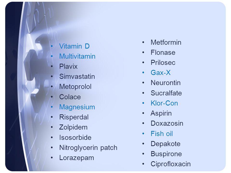 Metformin Flonase. Prilosec. Gax-X. Neurontin. Sucralfate. Klor-Con. Aspirin. Doxazosin. Fish oil.
