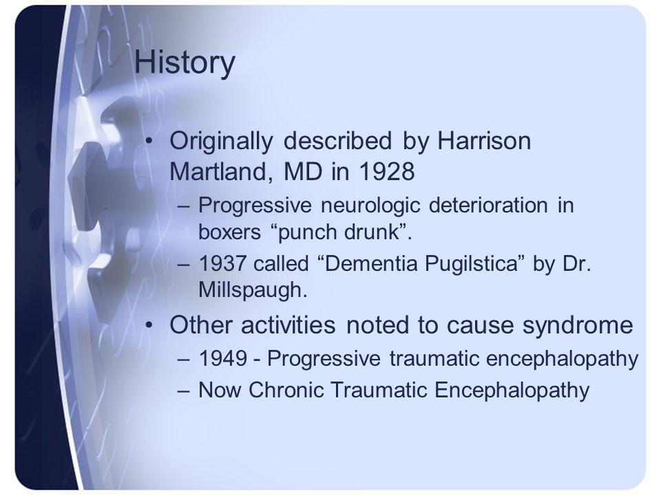History Originally described by Harrison Martland, MD in 1928