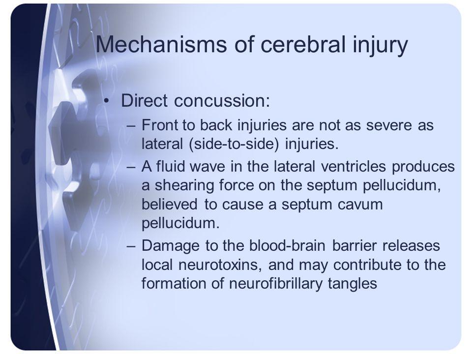 Mechanisms of cerebral injury
