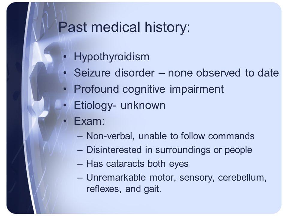 Past medical history: Hypothyroidism