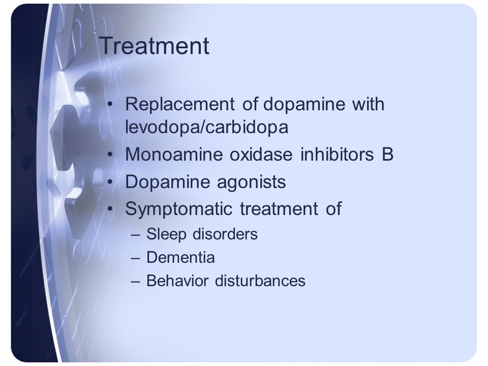 Treatment Replacement of dopamine with levodopa/carbidopa