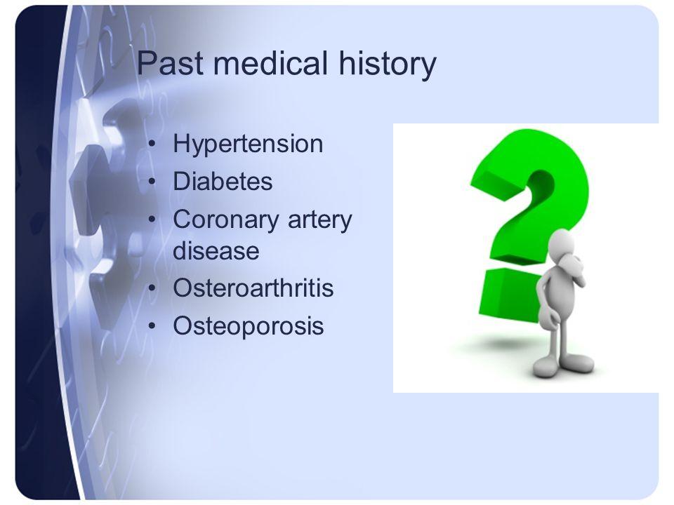 Past medical history Hypertension Diabetes Coronary artery disease