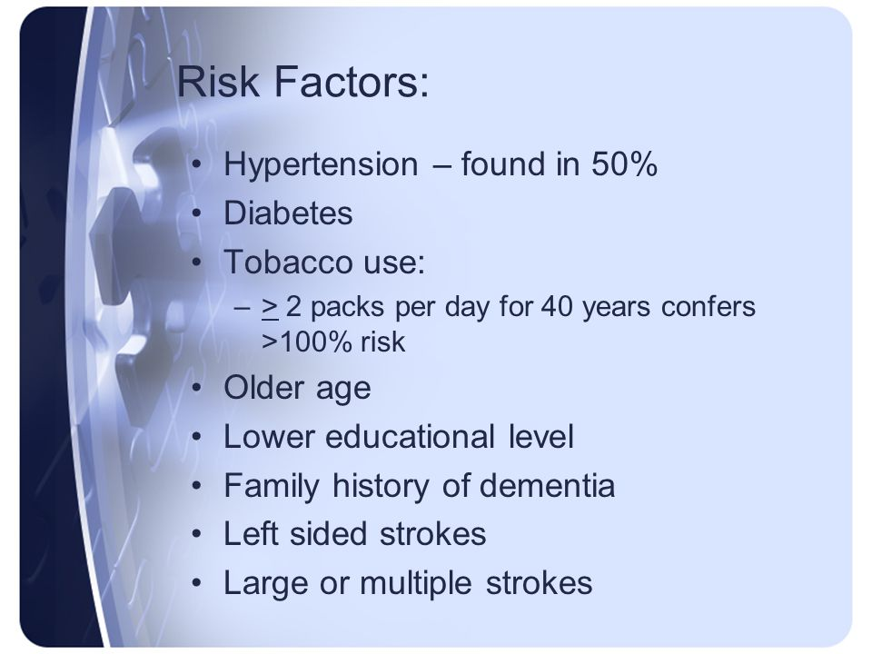 Risk Factors: Hypertension – found in 50% Diabetes Tobacco use: