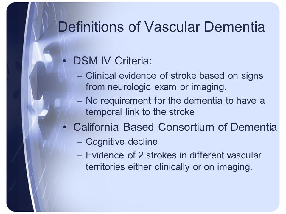 Definitions of Vascular Dementia
