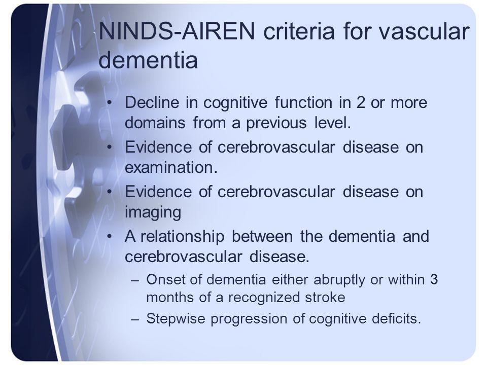 NINDS-AIREN criteria for vascular dementia
