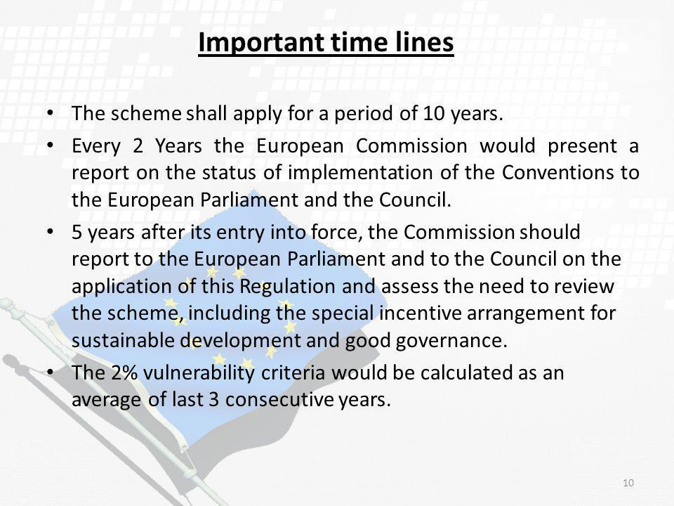 Important time lines The scheme shall apply for a period of 10 years.