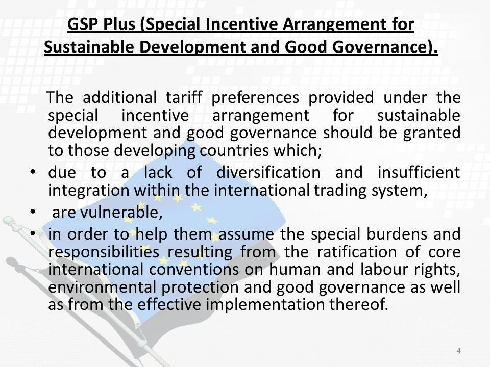 GSP Plus (Special Incentive Arrangement for Sustainable Development and Good Governance).