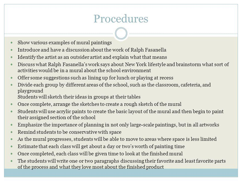 Procedures Show various examples of mural paintings