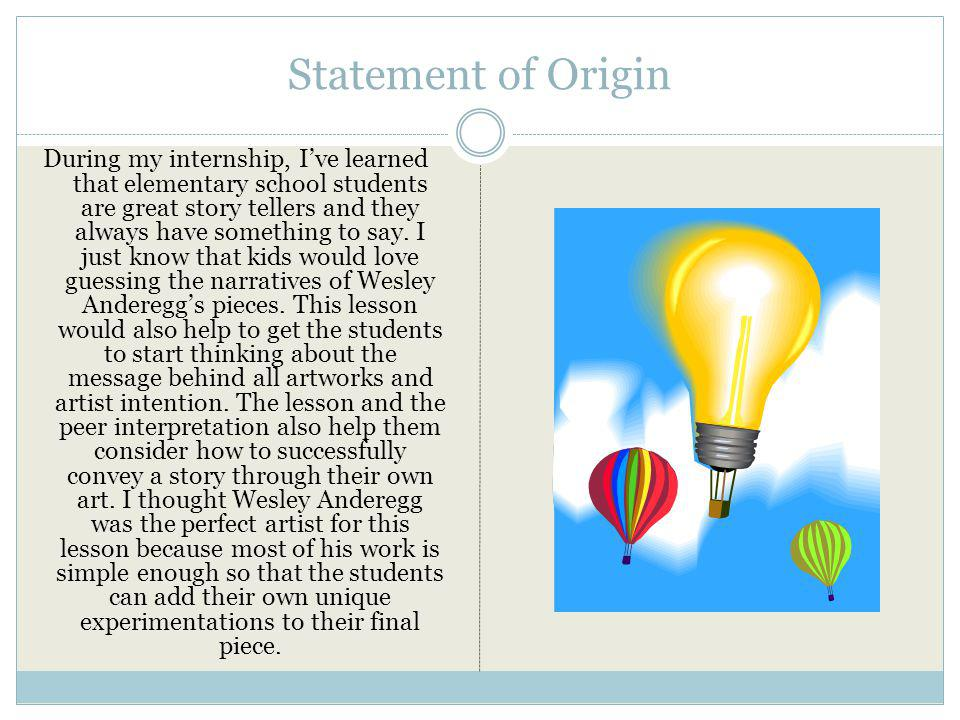 Statement of Origin