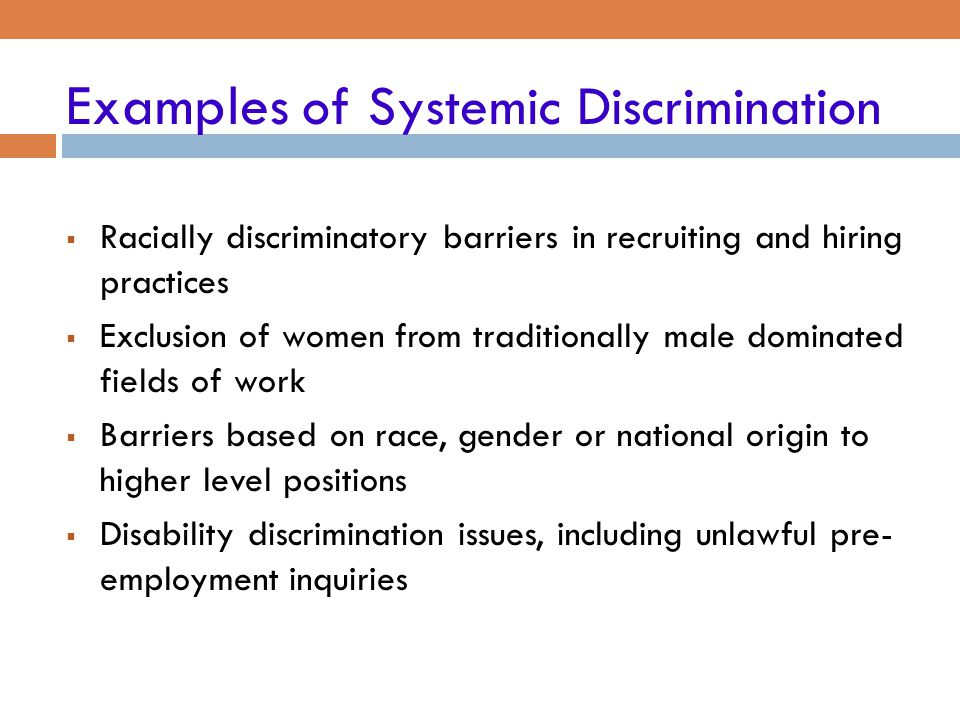 Examples of Systemic Discrimination